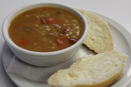 Beef Barley soup and a roll